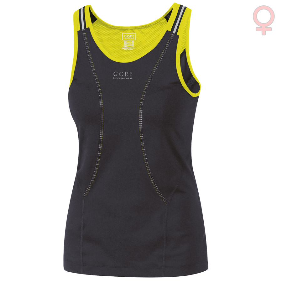 Mujer Top Gore Air 2.0 Negro Amarillo